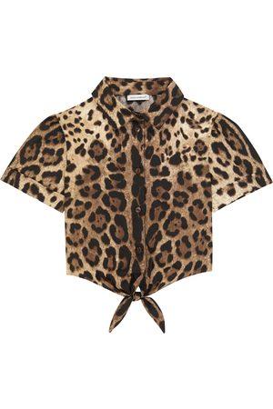 Dolce & Gabbana Leopard-print cropped cotton shirt