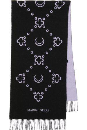Marine Serre WHITE LINE wool-blend scarf