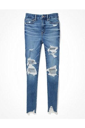 American Eagle Outfitters Luxe Ripped Super High-Waisted Jegging Women's 10 Regular