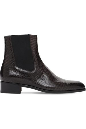 Tom Ford Men Ankle Boots - Croc Embossed Leather Ankle Boots