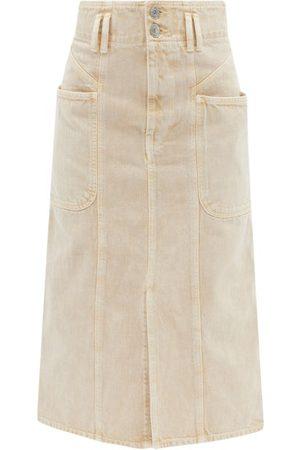 Isabel Marant Toria Front-slit Denim Midi Skirt - Womens