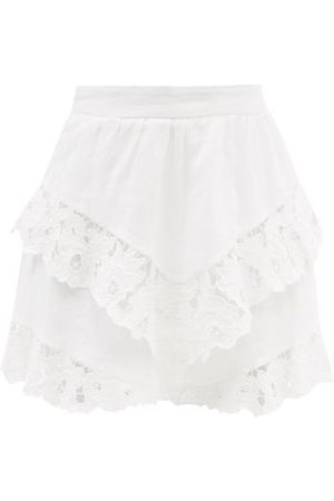 Isabel Marant Women Mini Skirts - Enali Floral-embroidered Linen Mini Skirt - Womens