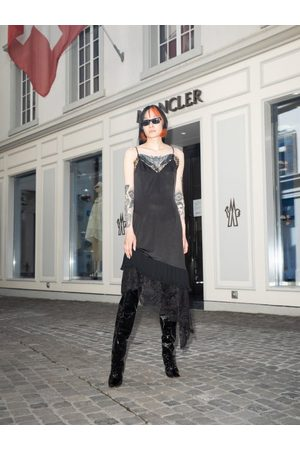 Vetements Asymmetric Lace-trimmed Satin Dress - Womens