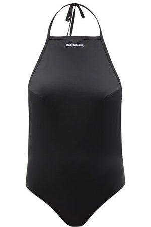 Balenciaga Logo-print Halterneck Swimsuit - Womens