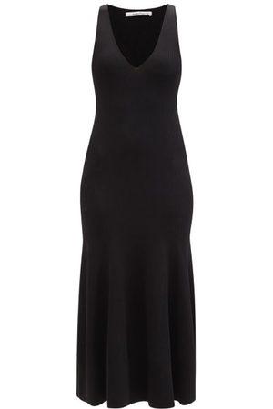 Another Tomorrow V-neckline Ribbed-jersey Midi Dress - Womens