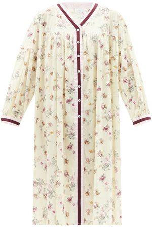 POUR LES FEMMES Duster Blossom-print Cotton-lawn Nightgown - Womens - Multi