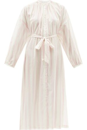 POUR LES FEMMES Women Sweats - Mona Striped Cotton-lawn Nightgown - Womens