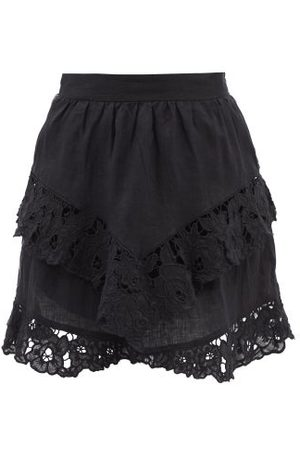 Isabel Marant Enali Floral-embroidered Linen Mini Skirt - Womens