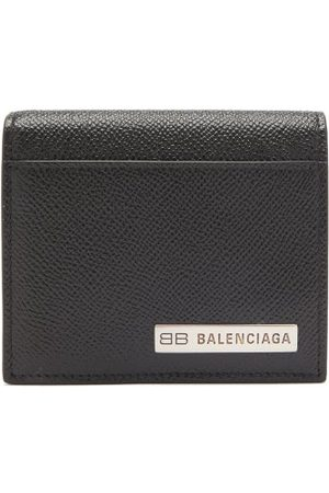 Balenciaga Bb-plaque Grained-leather Bifold Wallet - Mens