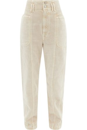 Isabel Marant Women High Waisted - High-rise Paper-bag Waist Tapered-leg Jeans - Womens