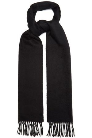 Paul Smith Men Scarves - Logo-embroidered Fringed Cashmere Scarf - Mens