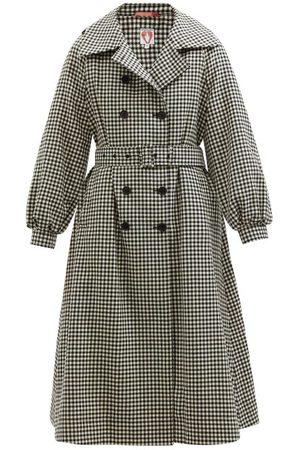 Shrimps Women Trench Coats - Birch Checked Wool-tweed Trench Coat - Womens