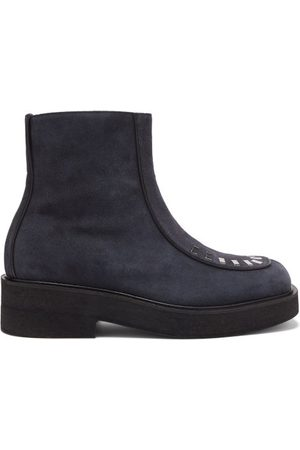 Marni Men Boots - Jonny Leather-piped Suede Boots - Mens - Navy