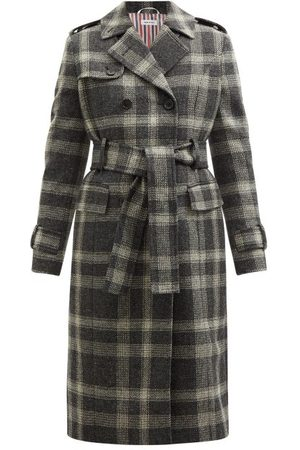 Thom Browne Double-breasted Madras-check Wool Trench Coat - Womens - Grey