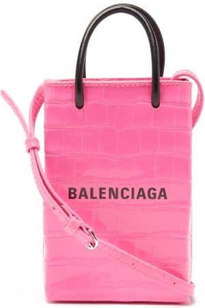 Balenciaga Women Purses - Shopping Mini Croc-effect Leather Cross-body Bag - Womens - Fuchsia