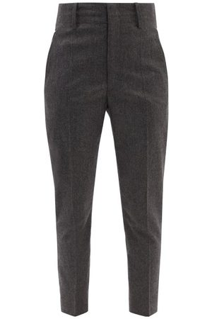 Isabel Marant Niloah High-rise Flannel Tailored Trousers - Womens - Dark Grey
