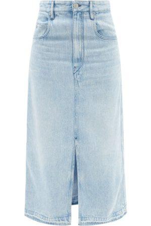 Isabel Marant Tilauria Hem-slit Lyocell-denim Midi Skirt - Womens - Light Denim