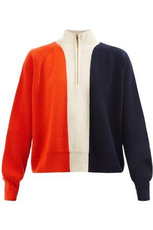 Colville Sandwich Striped Ribbed Wool Half-zip Sweater - Womens - Multi