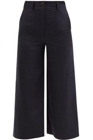 Cefinn Women Wide Leg Pants - Tate Flared-leg Cropped Hopsack Trousers - Womens - Navy