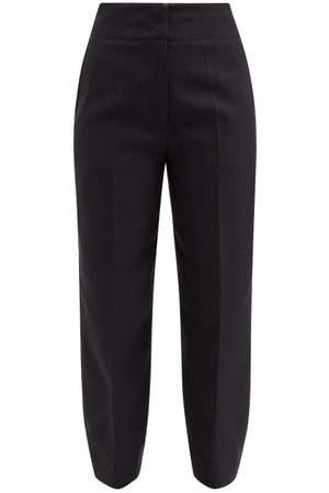 Jil Sander High-rise Cropped Gabardine Trousers - Womens - Navy