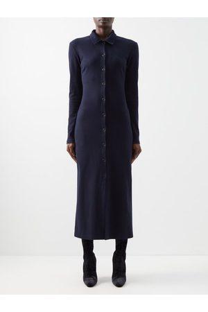 Raey Buttoned Cotton-jersey Dress - Womens - Dark Navy