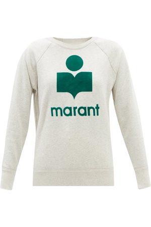 Isabel Marant Milly Flocked-logo Cotton-blend Sweatshirt - Womens - Ivory Multi