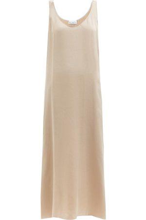 Raey Women Casual Dresses - Babylock-edged Cupro Midi Slip Dress - Womens - Light