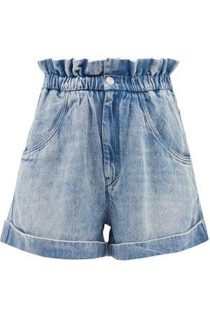 Isabel Marant Women Shorts - Itea Paperbag-waist Lyocell-denim Shorts - Womens - Light Denim
