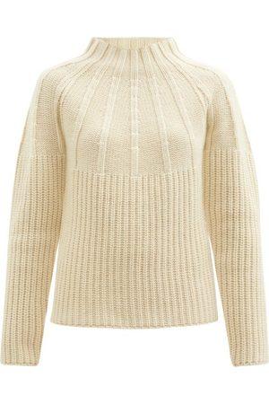 Jil Sander Raglan-sleeve Ribbed Wool-blend Sweater - Womens - Ivory