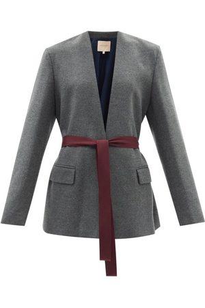Roksanda Selma Waist-tie Wool-jersey Jacket - Womens - Grey