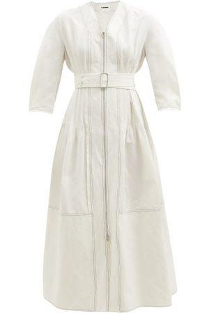 Jil Sander Pintucked Cotton-blend Ripstop Midi Dress - Womens