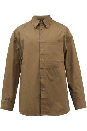 WOOYOUNGMI Men Shirts - Oversized Cotton-poplin Shirt - Mens - Khaki