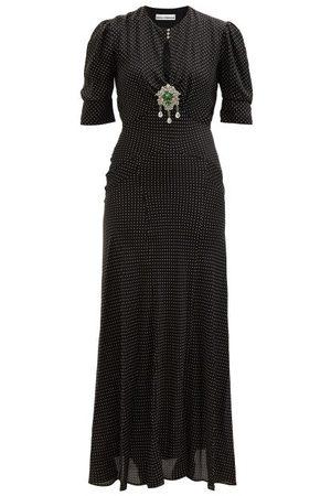 Paco rabanne Women Maxi Dresses - Crystal-embellished Polka-dot Crepe Maxi Dress - Womens