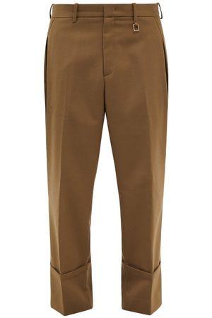 WOOYOUNGMI Men Wide Leg Pants - Cropped Wide-leg Trousers - Mens - Khaki