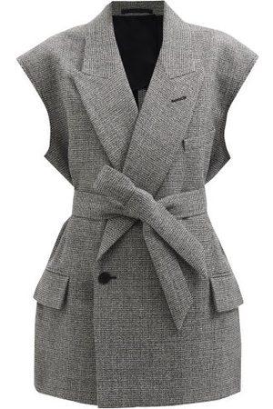 Raey Sleeveless Raw-edge Wool-blend Belted Jacket - Womens - Grey Multi