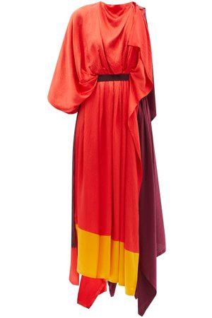 Roksanda Yerba Asymmetric Colour-block Silk-satin Dress - Womens - Multi