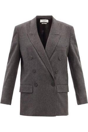 Isabel Marant Women Blazers - Noleagan Wool-blend Double-breasted Flannel Blazer - Womens - Dark Grey