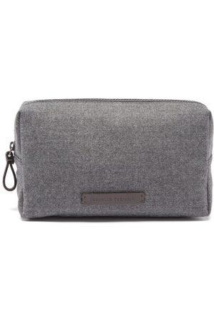 Brunello Cucinelli Toiletry Bags - Logo-plaque Wool-flannel Washbag - Grey