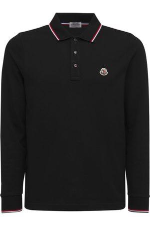 Moncler Men Polo Shirts - Long Sleeves Cotton Piquet Polo Shirt