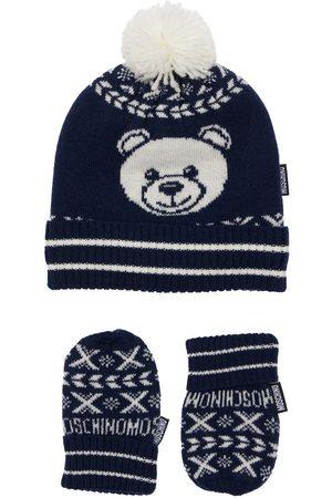 Moschino Girls Hats - Jacquard Wool Blend Knit Hat & Gloves