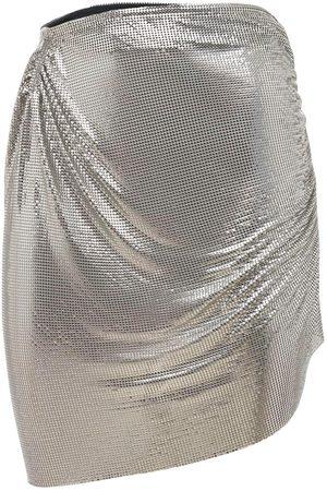 FANNIE SCHIAVONI Women Mini Skirts - Metal Mesh Mini Skirt W/asymmetric Drape