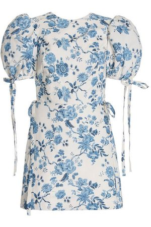 The Vampire's Wife Exclusive The Wrapsody Floral-Print Cotton Mini Dress