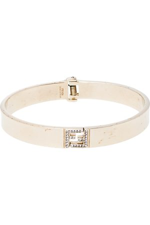 Fendi Sta Crystal Tone Cuff Bracelet L