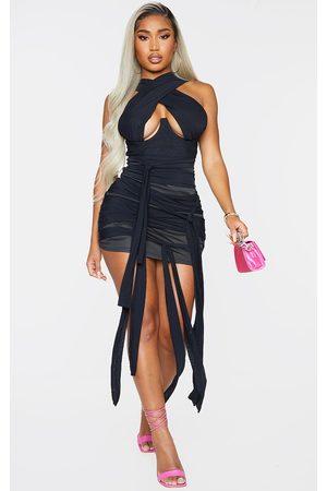 PRETTYLITTLETHING Shape Mesh Wrap Neck Tie Detail Bodycon Dress