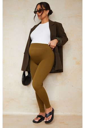 PRETTYLITTLETHING Women Sweats - Maternity Olive Contour Bump Support Ribbed Leggings