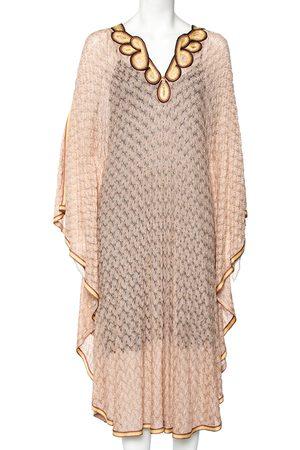 Missoni Light Lurex Knit Contrast Trim Detail Sheer Kaftan Dress M