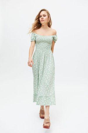 Urban Outfitters Women Midi Dresses - UO Tessie Smocked Puff Sleeve Midi Dress
