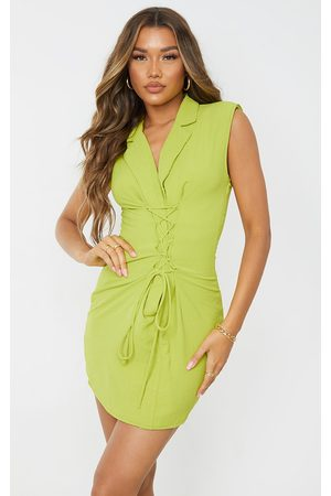 PRETTYLITTLETHING Women Bodycon Dresses - Lime Linen Look Shoulder Pad Lace Up Sleeveless Bodycon Dress