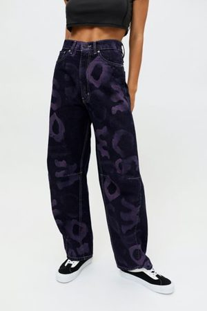 BDG Women Boyfriend Jeans - Rih Extreme Baggy Jean - Graphic Dark Wash