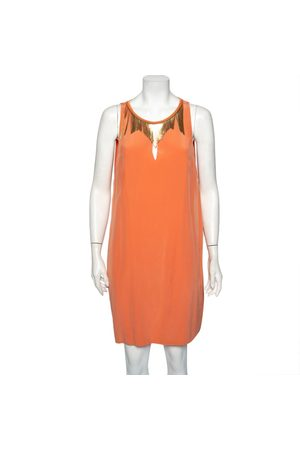 VERSACE Peach Silk Embellished Neck Detail Sleeveless Shift Dress L